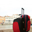 Luggage against city panorama — Stockfoto #12374085