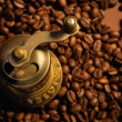 Coffee background with coffee mill - Stock Photo