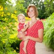 Mother with her child outdoors — Stock Photo #12374313