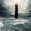 Stormy sky over flooded lighthouse — Stock Photo