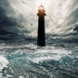 Stormy sky over flooded lighthouse - Photo