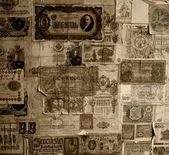 Vintage banknotes wallpaper — Stock Photo