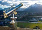 A telescope for observation of Salzburg city — Stock Photo