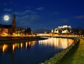 Salzburg city view at night — Stock Photo