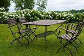 Picnic table on a meadow — Stockfoto