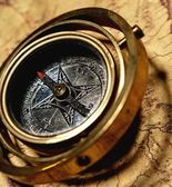Vintage compass on the old map — Stock Photo