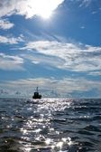Fishing boat in a sea — Stock Photo