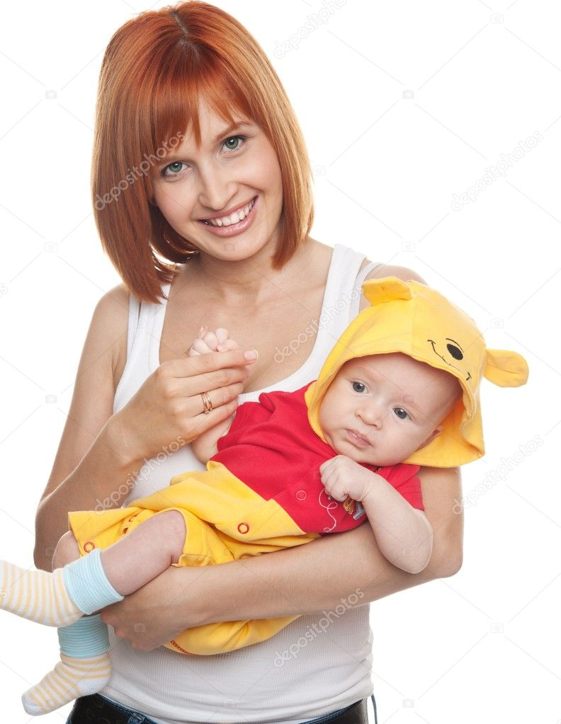 Redhead woman with child in funny costume. — Stock Photo #12373915