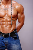 Portrait of muscle man torso on grey background — Stock Photo