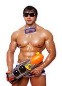 Portret mięśni mężczyzna pozowanie studio na białym tle z — Zdjęcie stockowe