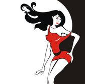 Beautiful sexy girl in red dress — Stok Vektör