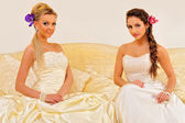 Two beautiful brides in a wedding dresses. — Стоковое фото