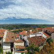 Small spanish town with mountain view. Morella in Span. Panorama — Stock Photo