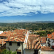 Small spanish town with mountain view. Morella in Span. - Stock Photo