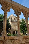 Catedral de morella afuera. pueblito español morella. — Foto de Stock