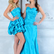 Two beautiful women in long and short evening dresses. — Stock Photo