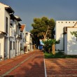 The court yard of the spanish houses in Alcossebre, Spain. - Stock Photo
