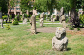 Stone polovtsian sculptures in park-museum of Lugansk, Ukraine — Stock Photo