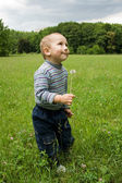 Beautiful little boy playing with a dandelion — Stock Photo