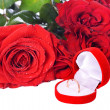 Stock Photo: Wedding Ring and Rose, Will you marry me?