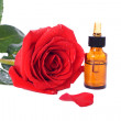 Stock Photo: Bottles of essential oil and red rose
