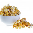 Bowl of popcorn isolated on white background — Stock Photo
