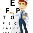 Ophthalmologist shows a table for testing visual acuity - Stock Vector