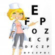 Cute woman doctor - Ophthalmologist shows a table for testing visual acuity - Stock Vector