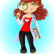 Cute brownhaired young woman doctor with magnifying glass - Image vectorielle