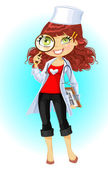 Cute brownhaired young woman doctor with magnifying glass — Stock Vector