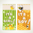 "Yellow ""It`s a boy"" and green ""it`s a girl"" vertical banners set 1 — Stock Vector"