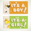 "Yellow ""It`s a boy"" and  green ""it`s a girl"" horizontal banners set 3 — Stock Vector"