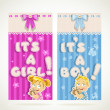 Stock Vector: Blue It`s boy and pink it`s girl vertical banners set 2