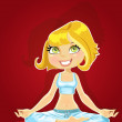 Royalty-Free Stock Vectorielle: Cute blond in a yoga lotus position on red background