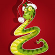 Cute Christmas snake bent in the form of a Christmas tree - Stock Vector