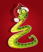 Joli serpent noël plié sous la forme d'un sapin de noël — Vecteur