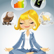 Business lady is engaged in meditation to achieve success — Stock Vector
