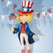 Girl in suit of Uncle Sam and with flag Celebrates 4th July — Stock Vector #11325598