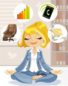 Lovely business lady is engaged in meditation to achieve success — Stock Vector