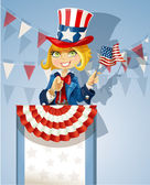 Girl in a suit of Uncle Sam stands on the podium — Stock Vector