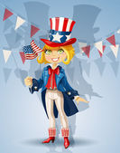 Girl in a suit of Uncle Sam and with flag Celebrates 4th July — Stock Vector
