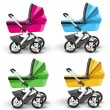 Colored strollers for baby boys and baby girls — Stock Vector #11333415