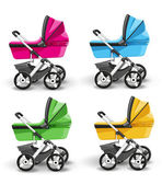Colored strollers for baby boys and baby girls — Stock Vector