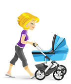 Young mother walking with a blue baby carriage — Stock Vector