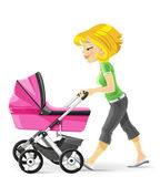 Young mother walking with a pink baby carriage — Stock Vector
