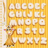 Baby alphabet with lace and ribbons, yellow version — Stock Vector