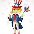Stock Vector: Cute blond girl in a suit of Uncle Sam