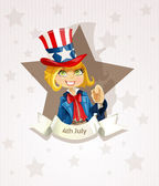 4th July poster with pretty blond girl — Stock Vector