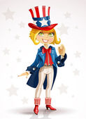 Blond girl Celebrates July 4th — Stock Vector