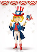 Cute blond girl in a suit of Uncle Sam — Stock Vector